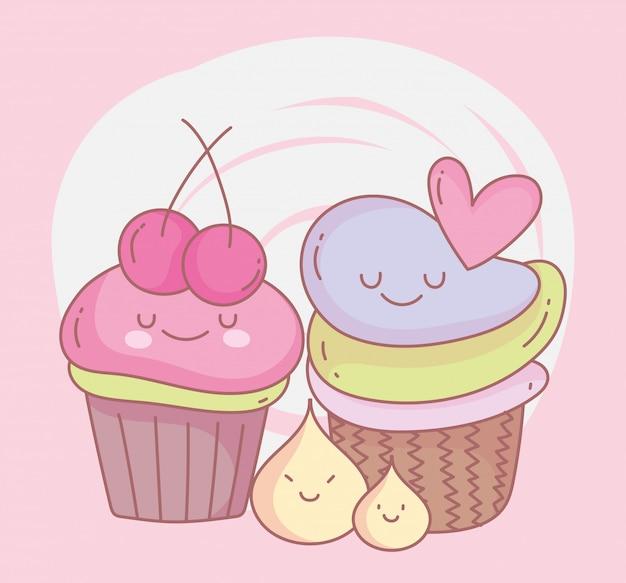 Zoete cupcakes met leuke het restaurantvoedsel van het fruitmenu