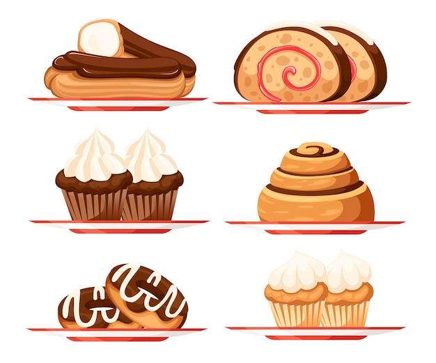 Zoete dessert gebak set illustratie