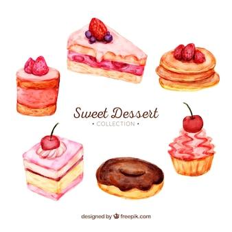 Zoete desserts collectie in aquarel stijl