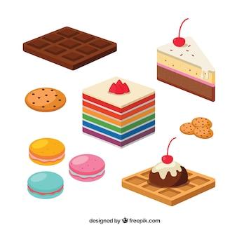 Zoete desserts collectie in vlakke stijl