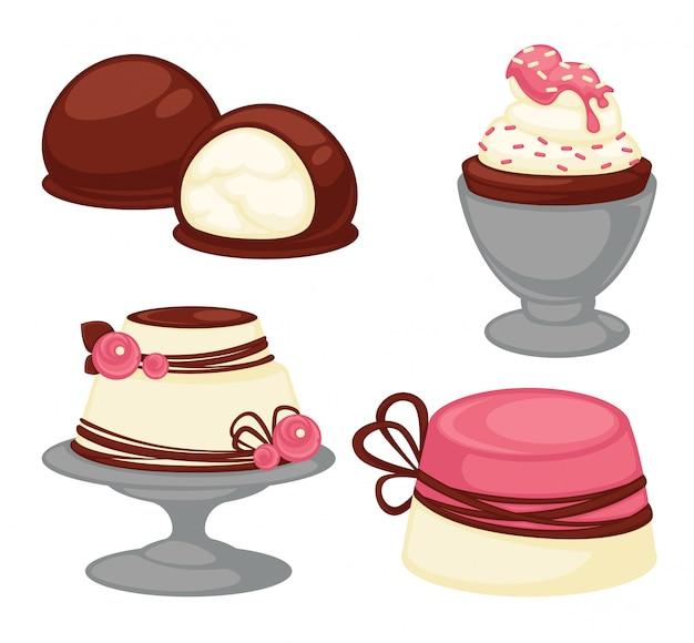 Zoete desserts en gebak taarten vector iconen