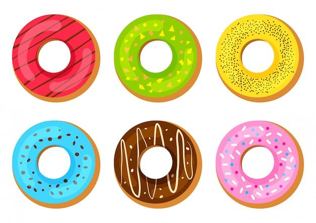 Zoete desserts met kleurrijke glazuur. illustratie