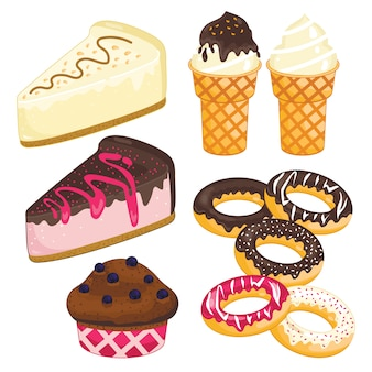 Zoete dessertset. taart, ijs, donut, cupcake