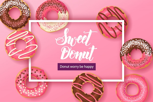 Zoete donut met handgemaakte letters: donut zorgen wees blij