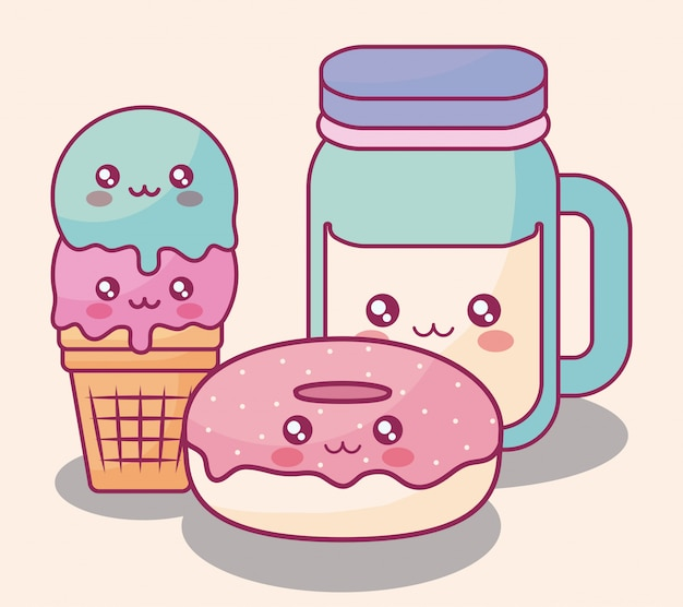 Zoete donuts en ijskawaiikarakters