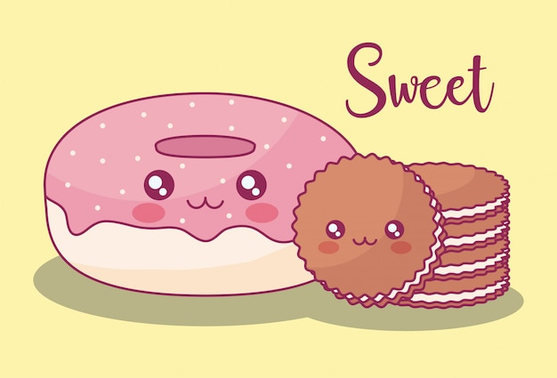 Zoete donuts en koekjes kawaiikarakters