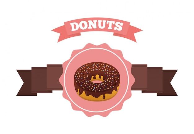 Zoete donuts label met lint