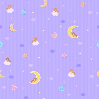 Zoete dromen behang naadloze patroon ontwerp met teddybeer op paarse achtergrond