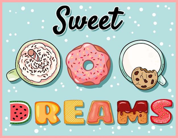 Zoete dromen met kopjes drank en donut