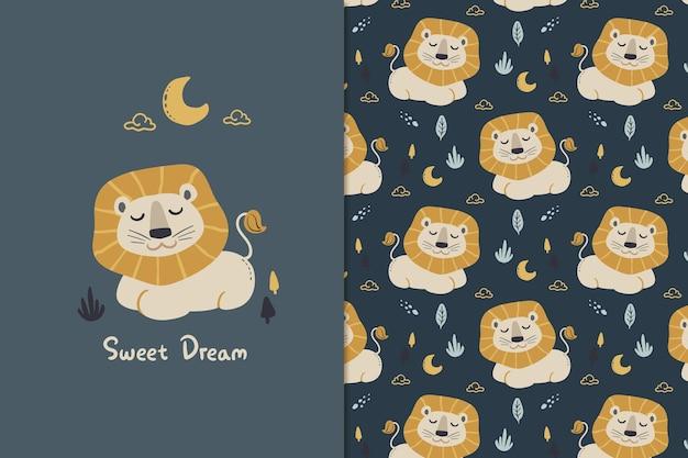 Zoete droom leeuw naadloze patroon