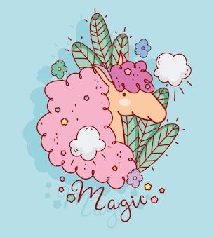 Zoete eenhoorn bloemen laat wolken fantasie magische cartoon