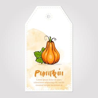 Zoete en gezonde zelfgemaakte pompoenjam marmelade papieren label illustratie