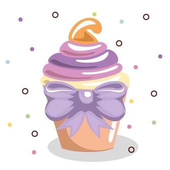 Zoete en heerlijke cupcake met bowtie verjaardagskaart