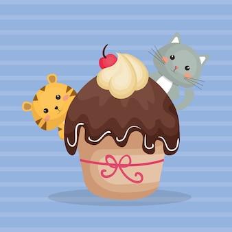 Zoete en heerlijke cupcake met kattenkarakters