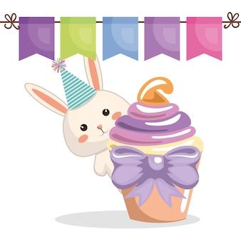Zoete en heerlijke cupcake met konijn