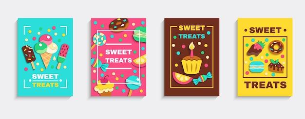 Zoete gebakken desserts ijs snoepjes partij behandelt 4 kleurrijke zoetwaren advertentie posters geplaatst geïsoleerde vectorillustratie