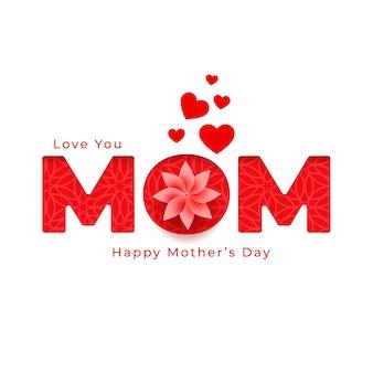 Zoete gelukkige moederdag bloem en harten groet