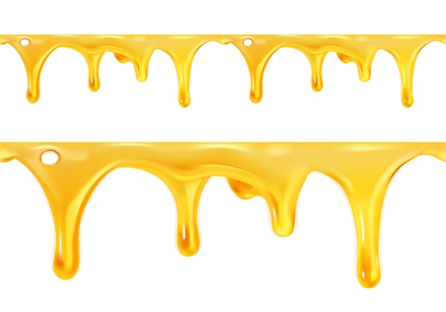Zoete honing druipt illustratie set