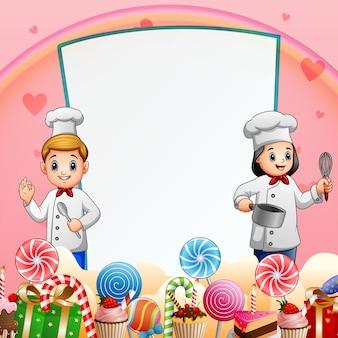Zoete kaartachtergrond met gelukkige twee chef-koks