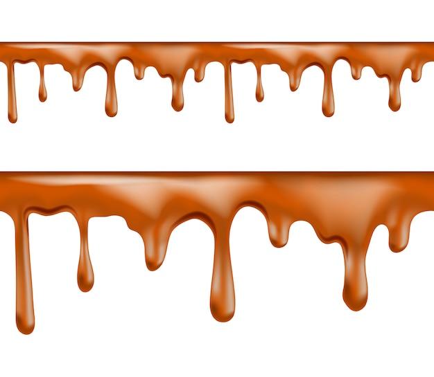 Zoete karamel druipt naadloze patronen op witte achtergrond. illustratie