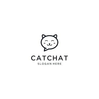 Zoete kat chat logo ontwerp