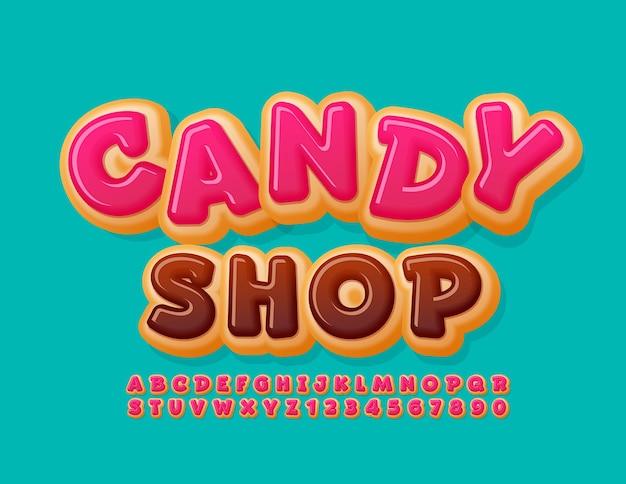 Zoete logo candy shop roze geglazuurde lettertype grappige donut alfabetletters en cijfers instellen