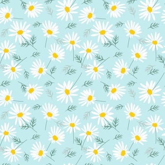 Zoete madeliefjebloemen op helderblauw naadloos patroon.