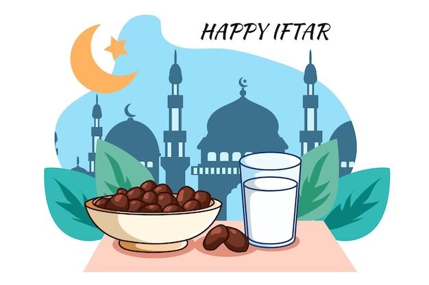 Zoete melk en datum bij ramadan kareem cartoonillustratie