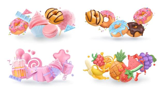 Zoete objecten 3d vector cartoon. cupcake, donuts, cake, fruit