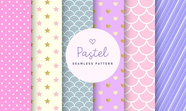 Zoete pastel naadloze patroon collectie.