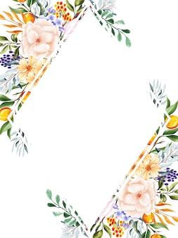 Zoete perzik bloemen frame achtergrond