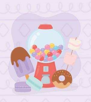 Zoete producten kauwgom machine ijs donut macaron marshmallow