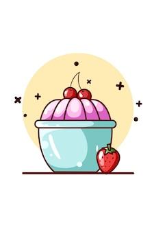 Zoete pudding met kersen en aardbei