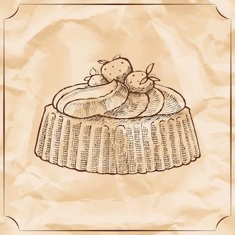 Zoete retro cake met aardbeien en afgeveegde room. traktatie voor de verjaardag.