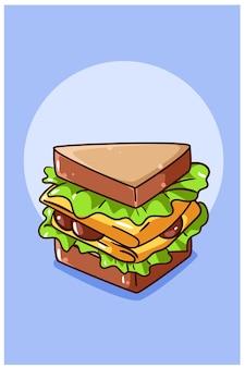 Zoete sandwich brood cartoon afbeelding