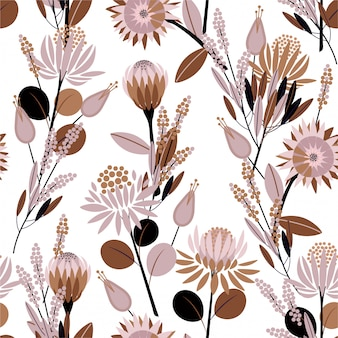 Zoete sfeer van naadloze patroon in vintage blooming protea bloemen in het tuin vol met botanische planten ontwerp voor mode, behang, verpakking