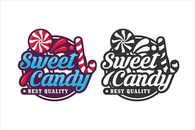 Zoete snoep ontwerp logo premium