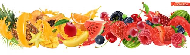 Zoete tropische vruchten en gemengde bessen.