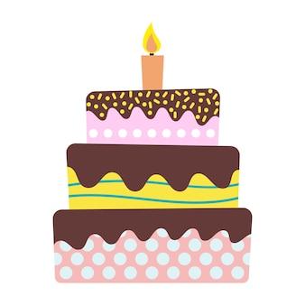 Zoete verjaardagstaart met brandende kaars. kleurrijk vakantiedessert. vector viering achtergrond.