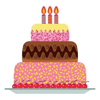 Zoete verjaardagstaart met drie brandende kaarsen. kleurrijk vakantiedessert. vector viering achtergrond.