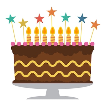 Zoete verjaardagstaart met zeven brandende kaarsen. kleurrijk vakantiedessert. vector viering achtergrond.