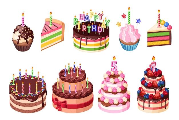 Zoete verjaardagstaarten. gelukkige vieringscake, zoete muffin van het verjaardagsfeestje met kaarsen. geïsoleerde vakantie zoetwaren cadeau opzichtig vector set. illustratie verjaardagstaart, zoete decoratie heerlijk