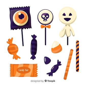 Zoete verzameling van heerlijke halloween snoepjes