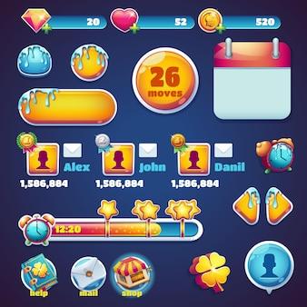 Zoete wereld mobiele gui set elementen webgames