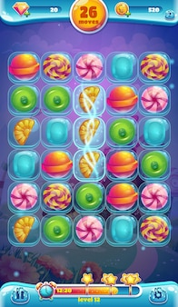 Zoete wereld mobiele gui speelveld illustratie