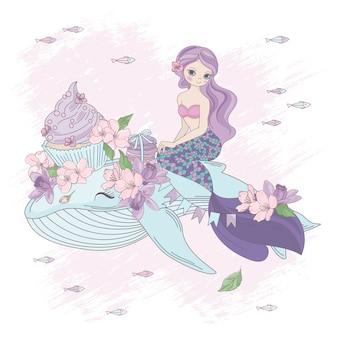 Zoete zeemeermin bloemenprinses met walvis