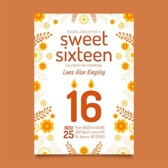 Zoete zestien verjaardagsuitnodiging stijl