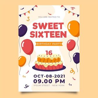 Zoete zestien verjaardagsuitnodiging