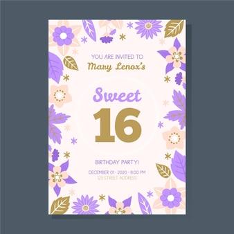Zoete zestien verjaardagsuitnodigingssjabloon