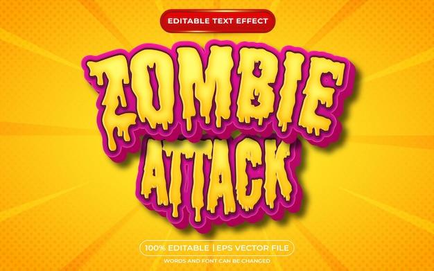 Zombie aanval bewerkbaar teksteffect halloween en enge tekststijl
